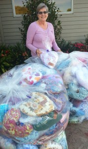 Gerti Weber with some of the wonderful heart cushions for Sweet Louise Members